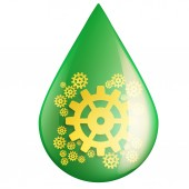 Green oil industry drop symbol with gears cogs — Stock Photo