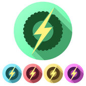 Set Flat icons of round wheel with lightning. Eco electric transport theme. — Stock Vector