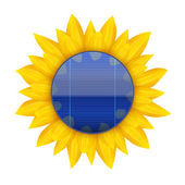 Concept of Blue electric solar panel with sunflower. Vector — Vecteur