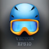 Background of Classic Ski helmet and orange snowboard goggles. Vector isolated on white background — Stock Vector