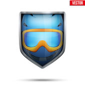 Bright shield in the ski helmet and goggles inside. Vector. — Stock Vector
