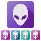 Set Flat icons of Alien head creature from another world. Vector. — Stock Vector