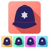 Set Flat icons of helmet metropolitan British police — Stock Vector