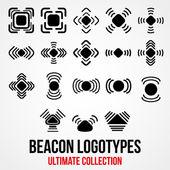 Set of black vector bluetooth GPS beacon icons. — Stockvector