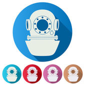 Set Flat icons of Underwater diving helmet. Vector Illustration — Stock Vector