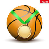 Sport gold medal with ribbon for winning basketball hangs on the ball. — Cтоковый вектор