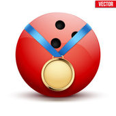 Sport gold medal with ribbon for winning bowling hangs on the ball. — Stock Vector