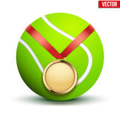Sport gold medal with ribbon for winning tennis hangs on the ball. — Stockvector