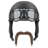 Biker Motorcyclist with moustaches. — Stock Photo