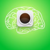 Background of cup coffee and brain. — Stock Photo