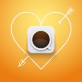 Background cup of coffee and heart with arrow. — Stock Photo