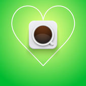 Background cup of coffee and heart. — Stock Photo