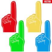 Set of Sports Fans holding Foam Fingers — Stock Vector