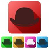 Set Flat icons of black gentleman bowler hat — Stock Vector
