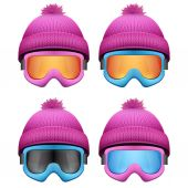 Set of Knitted woolen pink caps with snow goggles. Winter sport hat. — Stock Vector
