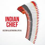 Indian chief hat with plumage. Side view. Vector — Stock Vector