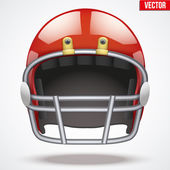 Realistic Red American football helmet. Front view. Vector — Wektor stockowy