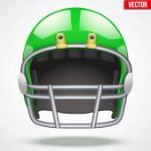 Realistic Green American football helmet. Front view. Vector — Stock Vector