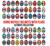 Big set of Bicycle mountain bike helmet with flags different countries. — Stock Vector