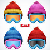 Knitted woolen cap with snow goggles. Winter seasonal sport hat. — Stock Vector