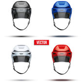 Set of Classic  Ice Hockey Helmets with glass visor. Vector — Stock Vector