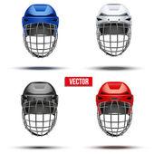 Set of Classic  Ice Hockey Helmets. Vector — Stock vektor