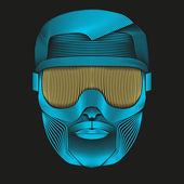 Creative Artwork of symbol skier or snowboarder with goggles. — Stock vektor