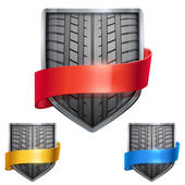 Set of Bright shield in the race tire inside with ribbons. Vector. — Stock Vector