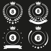 Set of Vintage Billiard Club Badge and Label — Stock Vector