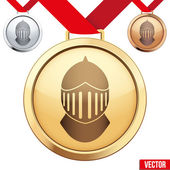 Gold Medal with the symbol of a knight inside — Stock vektor