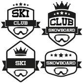 Set of Vintage SKI and Snowboard Club Badge Label — Stock Vector