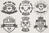 Set of Vintage Motor Club Signs and Label — Stock Vector