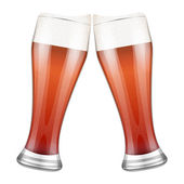 Two red beer glasses clink. Vector Illustration — Stock Vector