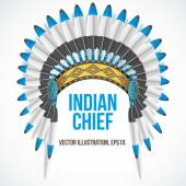 Indian chief hat with plumage. Front view. Vector — Stock Vector