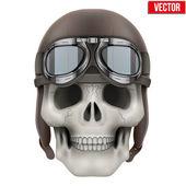 Human skull with retro aviator or biker helmet. — Stock vektor
