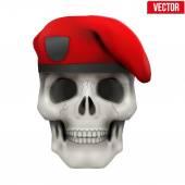 Human skull with Military maroon beret. — Stock vektor