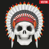 Human skull with indian chief hat. — Stock vektor