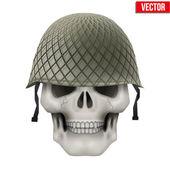 Human skull with Military helmet. — Stock vektor