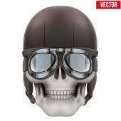 Human skull with retro aviator or biker helmet. — Stock Vector