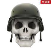 Human skull with Military helmet. — Stock Vector