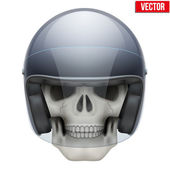 Human skull with motor biker helmet. — Stock Vector