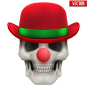 Vector Human skull clown. Front view. — Vettoriale Stock