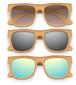 Set of Vintage sunglasses with wooden frame. Retro style. — Stock Vector