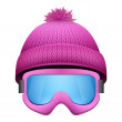 Knitted woolen cap with snow goggles. Winter seasonal sport hat. — Stock Photo #68767123