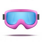 カラフルなガラスで古典的な古い学校のビンテージ ピンク スノーボード スキー用ゴーグルします。. — ストック写真