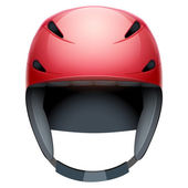 Front view of red rescuer Ski and snowboard helmet — Stock Photo