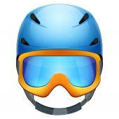 Front view of Classic Ski helmet and snowboard goggles. — Stock Photo