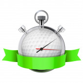 Stopwatch with golf ball inside. Sport and training — Stock Photo