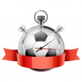 Stopwatch with football ball inside. Sport and training — Stock Photo