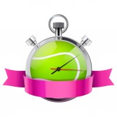 Stopwatch with tennis ball inside. Sport and training — Stock Photo